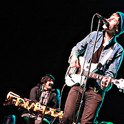 Nick Diamonds (right) and Honus Honus of Mister Heavenly performs on November 30, 2010 opening for Passion Pit at the Moore Theatre in Seattle, Washington