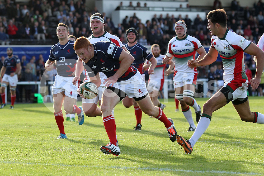 Connor Braid scores the first of his two tries during the Green King IPA Championship match between London Scottish &amp; Plymouth Albion at Richmond, Greater London on Sunday 5th October 2014<br /> <br /> Photo: Ken Sparks | UK Sports Pics Ltd<br /> London Scottish v Plymouth Albion, Green King IPA Championship,5th October 2014<br /> <br /> &copy; UK Sports Pics Ltd. FA Accredited. Football League Licence No:  FL14/15/P5700.Football Conference Licence No: PCONF 051/14 Tel +44(0)7968 045353. email ken@uksportspics.co.uk, 7 Leslie Park Road, East Croydon, Surrey CR0 6TN. Credit UK Sports Pics Ltd