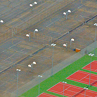 Aerial photograph of tennis and basketball courts Aerial views of artistic patterns in the earth.
