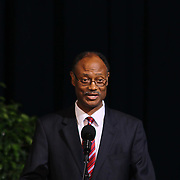 Christiana High School alumnus and Christiana superintendent Dr. Freeman Williams addresses students during Christiana 52nd commencement exercises Monday, June 01, 2015, at The Bob Carpenter Sports Convocation Center in Newark, Delaware.