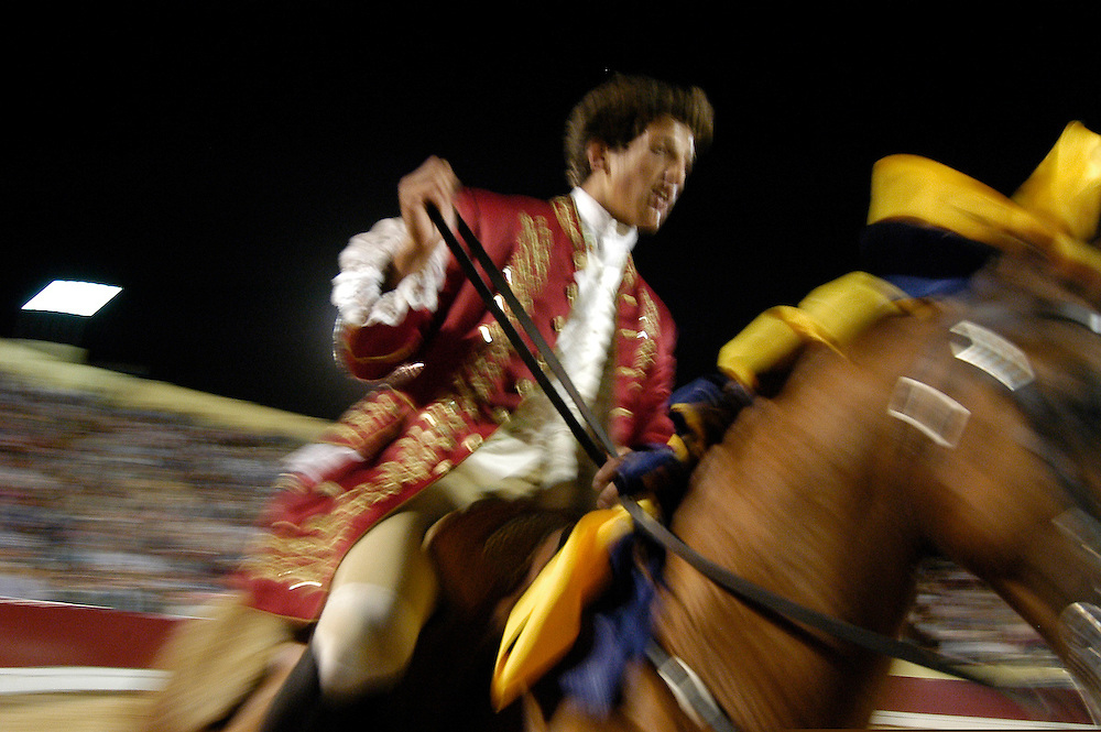 Horseman during a portuguese bullfight in Acochete, 2004