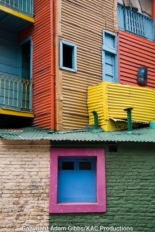 Colorful homes, La Boca, Buenos Aires, Argentina, South America, balcony, door.