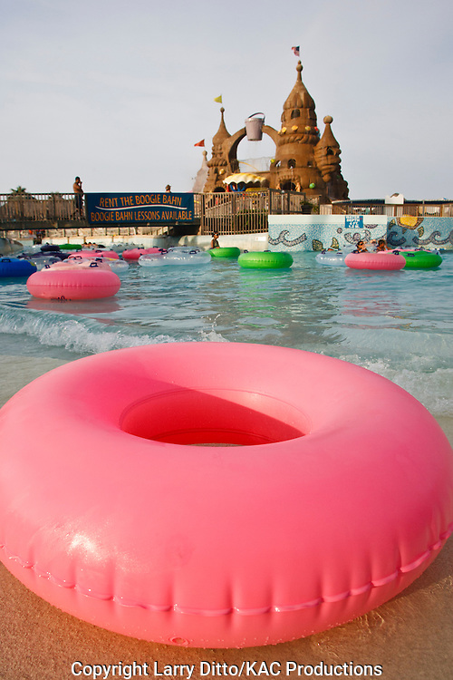 swimmers tubing at Schlitterbahn Water Park, South Padre Island, Texas, USA,
