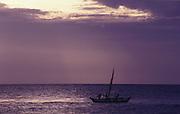 Fishing boat at dawn at Tirukovil, East Coast.