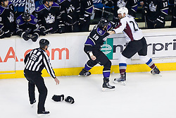 Fight between Kevin Westgarth (Los Angeles Kings, #19) vs David Koci (Colorado Avalanche, #28) during ice-hockey match between Los Angeles Kings and Colorado Avalanche in NHL league, Februar 26, 2011 at Staples Center, Los Angeles, USA. (Photo By Matic Klansek Velej / Sportida.com)