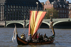 APR 15 2014 Viking warrior-crew boat on the River Thames photocall