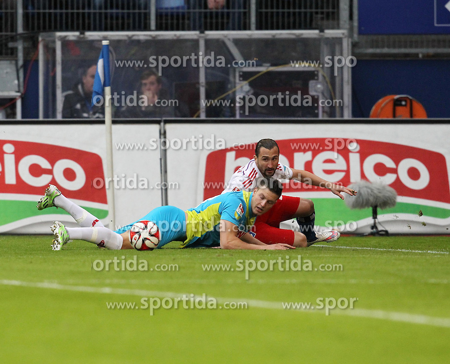 31.01.2015, Imtech Arena, Hamburg, GER, 1. FBL, Hamburger SV vs 1. FC K&ouml;ln, 18. Runde, im Bild Petr Jiracek (Mittelfeld / HSV / n19), im Zweikampf gegen Kevin Wimmer (Abwehr / K&ouml;ln / n28), // during the German Bundesliga 18th round match between Hamburger SV and 1. FC Cologne at the Imtech Arena in Hamburg, Germany on 2015/01/31. EXPA Pictures &copy; 2015, PhotoCredit: EXPA/ Eibner-Pressefoto/ Damm<br /> <br /> *****ATTENTION - OUT of GER*****