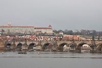 Evening view of Prague over the river Czech Republic