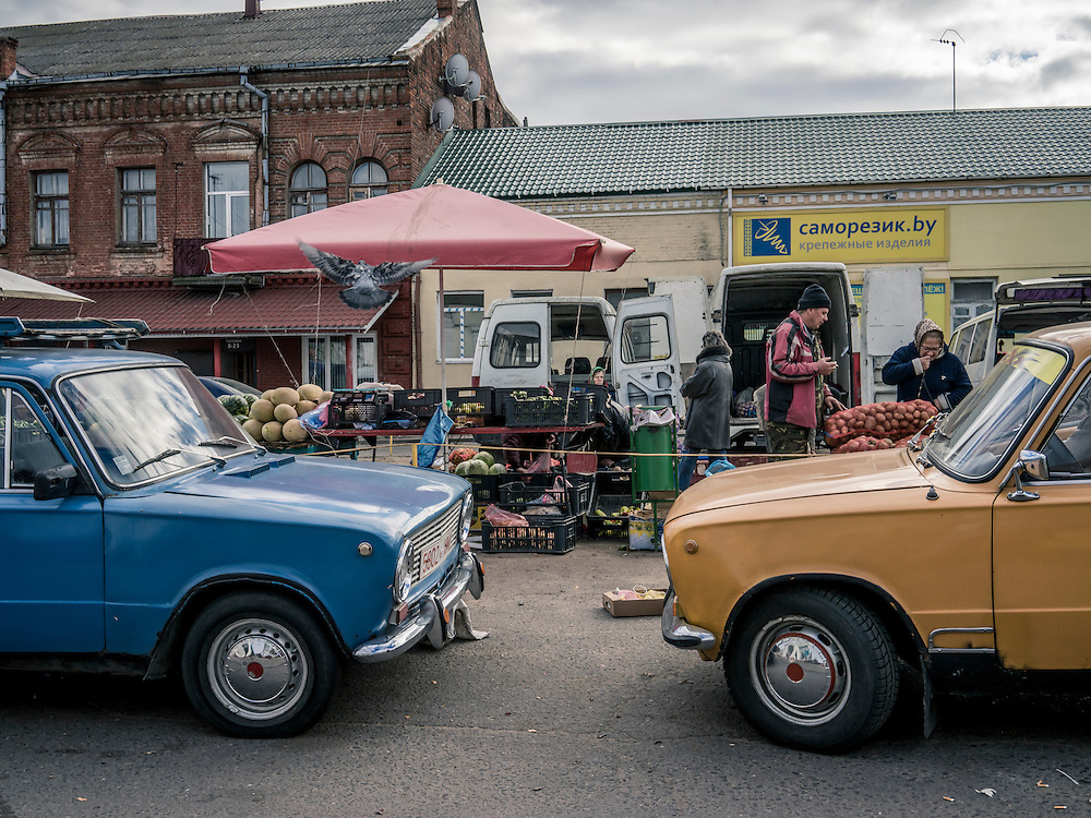 A market on Sunday, October 11, 2015 in Babruysk, Belarus. President Alexander Lukashenko was elected to a fifth term today in a vote that most international observers considered deeply flawed.