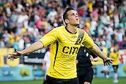 BREDA - NAC - Jong Ajax , Voetbal , Seizoen 2015/2016 , Jupiler league , Rat Verlegh Stadion , 21-08-2015 , NAC Breda speler Mats Seuntjens scoort de 1-0