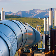 Alaska oil pipeline running through the central Alaska Range