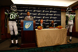 Aug 13, 2009; New York, NY, USA; UFL Commissioner Michael Huyghue speaks at the press conference unveiling the uniform for the New York Sentinels at The Princeton Club.