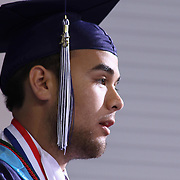 Delcastle Salutatorian William Esteves addresses students and audience members during Delcastle Forty-Sixth commencement exercises Tuesday, May 26, 2015, at The Bob Carpenter Sports Convocation Center in Newark, Delaware