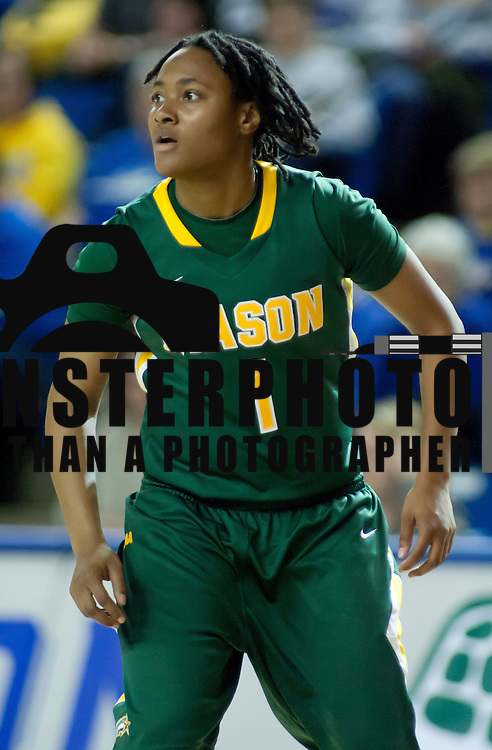 George Mason Guard Shavonne Duckett (1) in action in the first half a regular season NCAA basketball game against Delaware Thursday, Jan 10, 2013 at the Bob Carpenter Center in Newark Delaware...Delaware (10-3; 1-0) defeated George Mason (5-8; 0-2) 62-27..Delaware is riding a four-game winning streak after defeating George Mason, St. John's in over- time on Jan. 2 and Villanova (Dec. 29) and Duquesne (Dec. 30) to capture the 2012 Dartmouth Blue Sky Classic title.