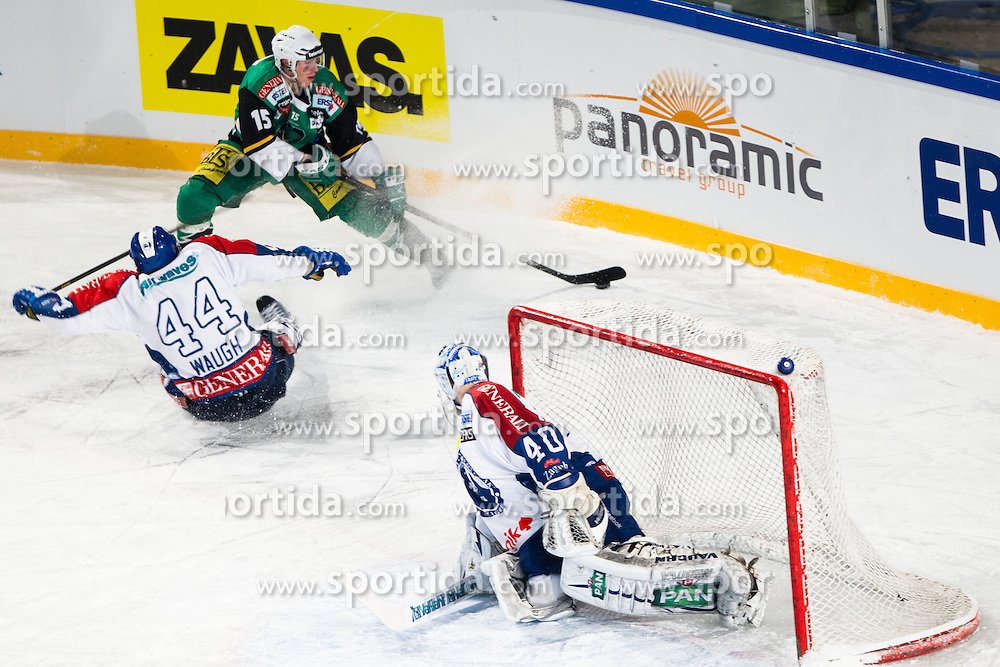 06.01.2013, Stadium Bezigrad, Ljubljana, SLO, EBEL, HDD Telemach Olimpija Ljubljana vs KHL Medvescak Zagreb, 39. Runde, in picture Chris D'Alvise (HDD Telemach Olimpija, #15) and Geoff Waugh (KHL Medvescak Zagreb, #44) during the Erste Bank Icehockey League 39th Round match between HDD Telemach Olimpija Ljubljana and KHL Medvsecak Zagreb at the open ice winter classic Stadium Bezigrad, Ljubljana, Slovenia on 2013/01/06. (Photo By Matic Klansek Velej / Sportida)