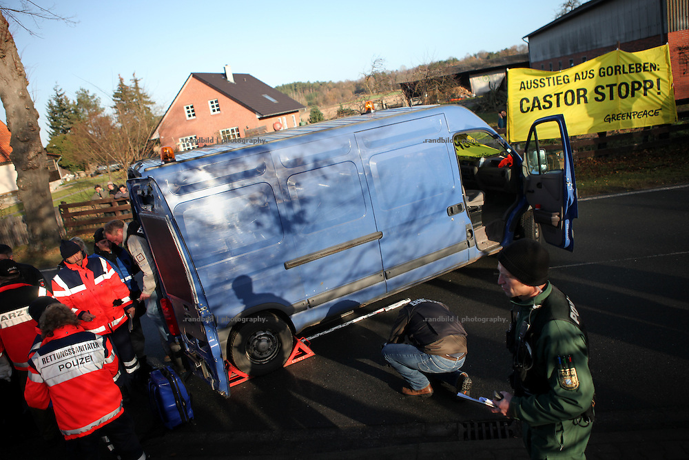 Greenpeace block the southern rout for the nuclear Castor transport by manipulated van. Two activists a locked themselfs in a conrete block inside the van which is fixed onto the roads asphalt. the police needed 6 houres to clear the van carefully.
