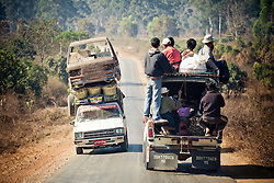 Overloaded car along a road in Kalaw area, Myanmar, Asia