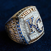 KANSAS CITY, MO - APRIL 5, 2016: The Kansas City Royals 2015 World Series rings seen at Kauffman Stadium on April 5, 2016 in Kansas City, Missouri. On one post, the ring features five white round diamonds to represent the Royals five 12th inning runs in Game 5, and two blue princess cut sapphires, representing the team's back to back World Series appearances. On the other post is a likeness of the crown in the Royals logo and a silhouette of Kauffman Stadium. The Hall of Fame's ring always carries the name of the current baseball Commissioner, in this case Rob Manfred. (Photo by Jean Fruth)