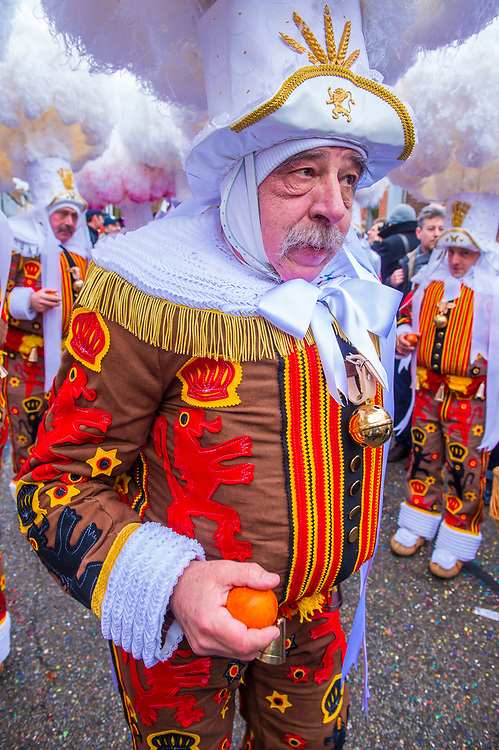 BINCHE , BELGIUM - FEB 26 : Participant in the Binche Carnival in Binche, Belgium on February 26 2017. The Binche carnival is included in a list of intangible heritage by UNESCO.