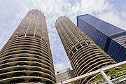 Marina City complex in Chicago, Illinois as seen from an architectural boat tour.