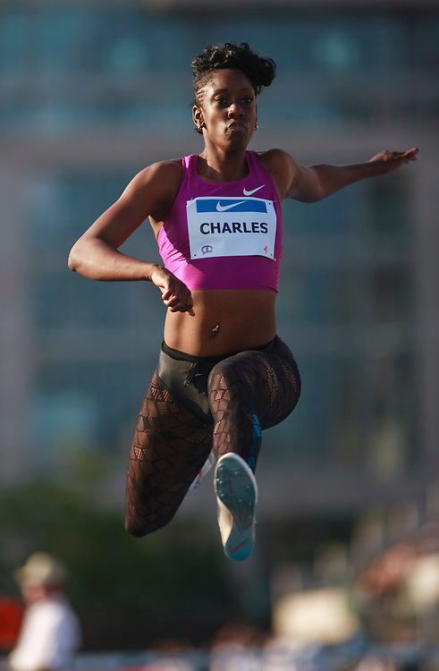 Toronto, Ontario ---10-07-30--- Tabia Charles competes in the triple jump at the 2010 Canadian Track and Field Championships in Toronto, Ontario July 31, 2010.<br />  GEOFF ROBINS/Mundo Sport Images