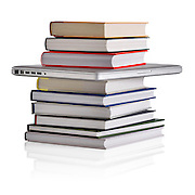 Concept photo of books and a laptop