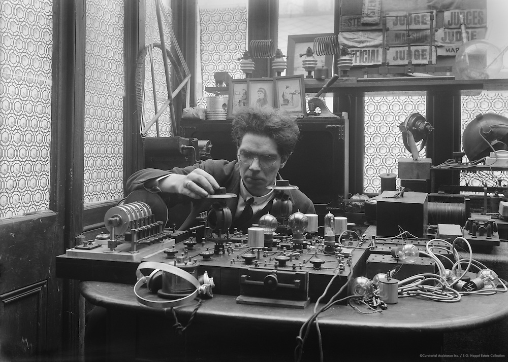 "Archibald Montgomery Low, inventor and physicist,  ""the father of radio guidance systems"", at work in his laboratory, 1919"