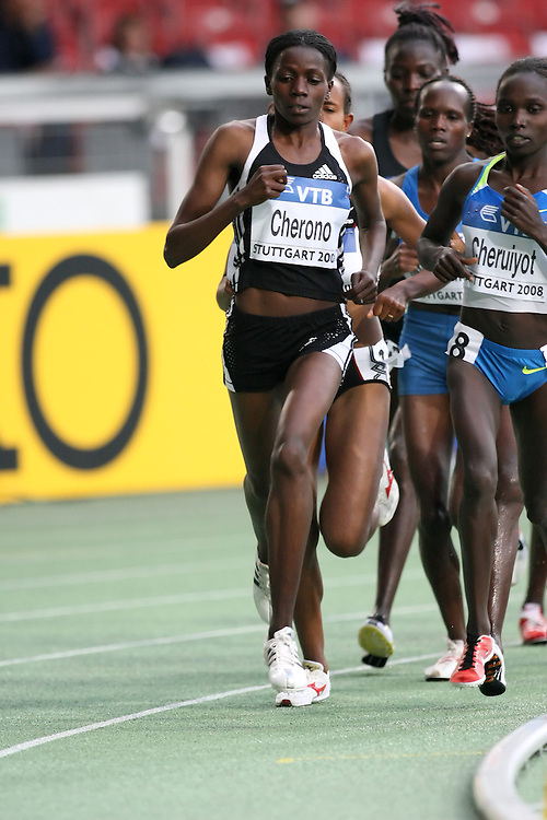 (Stuttgart, Germany---13 September 2008) Priscah Jepleting Cherono of Kenya runs to fifth (14:59.74) in the 5000m at the 2008 IAAF World Athletics Final. [Copyright Sean W. Burges/Mundo Sport Images, 2008.]