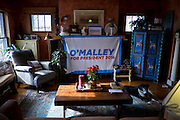 Tom Leffler and Judy Anderson's home is ready for the arrival of former Maryland Governor and 2016 Democratic presidential candidate, Martin O'Malley, in Johnston, IA on January 31, 2016. O'Malley is in Iowa campaigning in the final days before the Iowa Caucus.<br /> <br /> The Iowa Caucus is the first major electoral event of the nominating process for President of the United States. Both the Democratic and Republican Iowa Caucus will occur on February 1, 2016.
