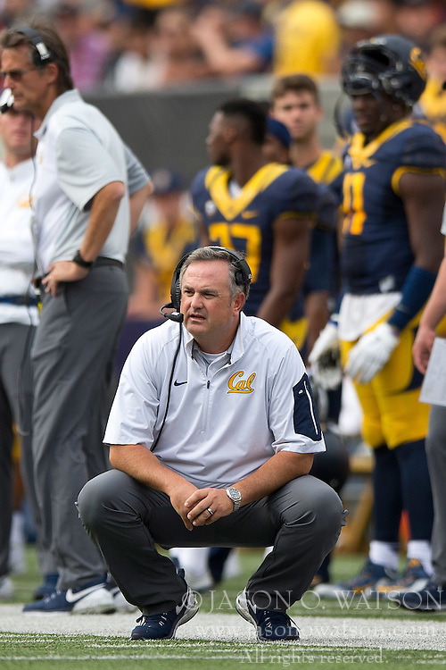 BERKELEY, CA - SEPTEMBER 12:  Head coach Sonny Dykes of the California Golden Bears looks on during the third quarter against the San Diego State Aztecs at California Memorial Stadium on September 12, 2015 in Berkeley, California. The California Golden Bears defeated the San Diego State Aztecs 35-7. (Photo by Jason O. Watson/Getty Images) *** Local Caption *** Sonny Dykes