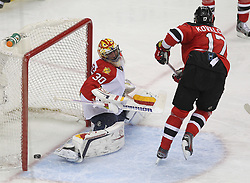 April 24, 2012; Newark, NJ, USA; New Jersey Devils left wing Ilya Kovalchuk (17) scores a goal past Florida Panthers goalie Scott Clemmensen (30) during the second period of game six of the 2012 Eastern Conference quarterfinals at the Prudential Center.