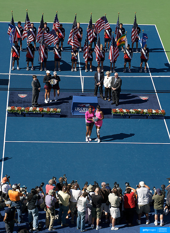Serena Williams, (left) and Venus Williams, USA,  during their victory over Black and Huber  during the Women's Doubles Final at  the US Open Tennis Tournament at Flushing Meadows, New York, USA, on Monday, September 14, 2009. Photo Tim Clayton..