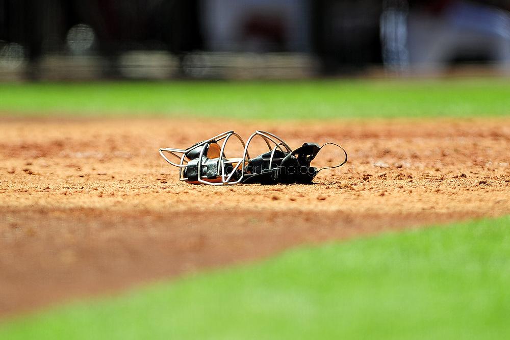 Apr. 10 2011; Phoenix, AZ, USA; .Detail view of a catchers mask as it lays on the field at Chase Field. Mandatory Credit: Jennifer Stewart-US PRESSWIRE..