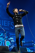 Ricky Wilson of Kasier Chiefs performs life on the main stage during day one of the Isle of Wight Festival 2011 at Seaclose Park on June 10, 2011 in Newport, Isle of Wight.  (Photo by Simone Joyner)