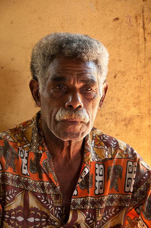 Fijian man in Naveyago Village on the Sigatoka River, Viti Levu Island, Fiji.