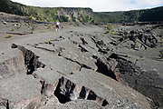 The walkable pit crater of Kilauea Iki (adjacent to the larger caldera of Kilauea) is still warm after last erupting in 1959, in Hawaii Volcanoes National Park, on the Big Island, Hawaii, USA. Established in 1916 and later expanded, the park (HVNP) encompasses two active volcanoes: Kilauea, one of the world's most active volcanoes, and Mauna Loa, the world's most massive shield volcano. HVNP is honored as a UNESCO World Heritage Site and International Biosphere Reserve.