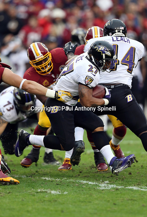 Baltimore Ravens running back Ray Rice (27) runs for a gain of 5 yards on the Ravens first play from scrimmage during the NFL week 14 football game against the Washington Redskins on Sunday, Dec. 9, 2012 in Landover, Md. The Redskins won the game in overtime 31-28. ©Paul Anthony Spinelli