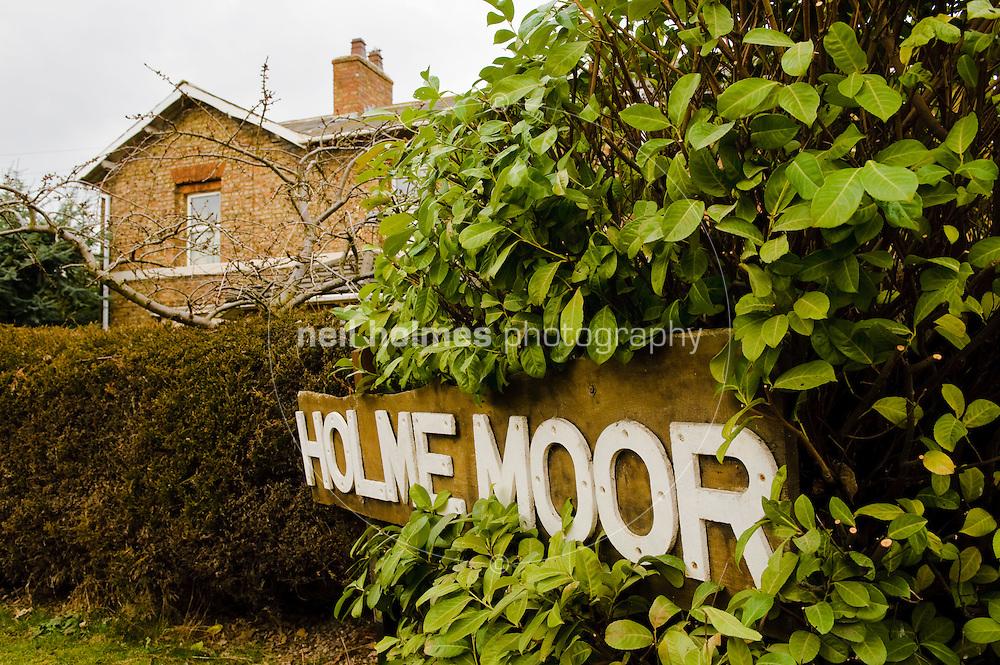Holme Moor station sigh outside the former railway station on Spen Lane, Holme on Spalding Moor