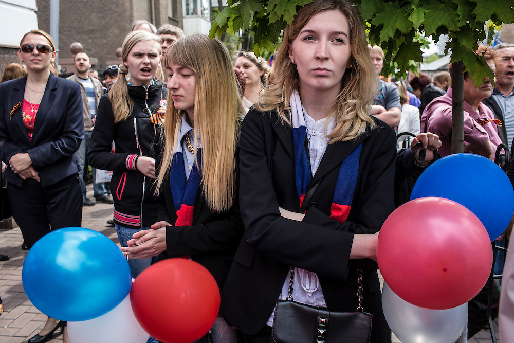 Women attend a pro-Russia march and rally which took control of a local police station on Thursday, May 1, 2014 in Donetsk, Ukraine.
