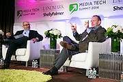 """Shelly Palmer, Managing Director, Digital Media, Landmark Ventures-Shelly Palmer and Bob Mudge, President, Consumer & Mass Business Markets with Verizon on """"High Fibre: How Much Bandwidth Do You Really Need?"""" exchange thoughts on """"High Fibre: How Much Bandwidth Do You Really Need?"""" discussion at Media Technology Summit 2014 on October 23, 2014. The 7th Annual Media Technology Summit meticulously curates a gathering of global trailblazers, innovators and investors. Landmark Ventures and Shelly Palmer bring together their exclusive global networks of Fortune 500 executives, venture capitalists, entrepreneurs and luminaries; to do business at the nexus of content, hardware, software and brands. The Media Tech Summit 2014 offered a place for the brightest minds to challenge paradigms, forecast trends and innovations, and share their rebellious perspectives in order to establish individual strategies to move forward in this connected world. (Photo: Jeffrey Holmes)"""