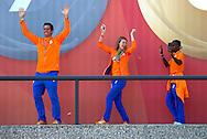 AMSTERDAM - COPYRIGHT ROBIN Pieter-Jan Postma (NED) (l)  UTRECHT Jelle van Gorkom, Dafne Schippers (NED) en Nouchka Fontijn (r) <br /> 23-08-2016 ALGEMEEN: HULDIGING THUISKOMST TEAMNL: AMSTERDAM RAI