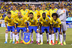 Sep 9, 2014; East Rutherford, NJ, USA; Brazil poses for a team picture before the first half at MetLife Stadium.