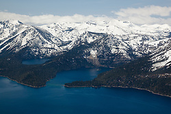 """Emerald Bay, Lake Tahoe Aerial 1"" - Aerial photograph of the blue waters of Emerald Bay in Lake Tahoe, CA and Cascade Lake."