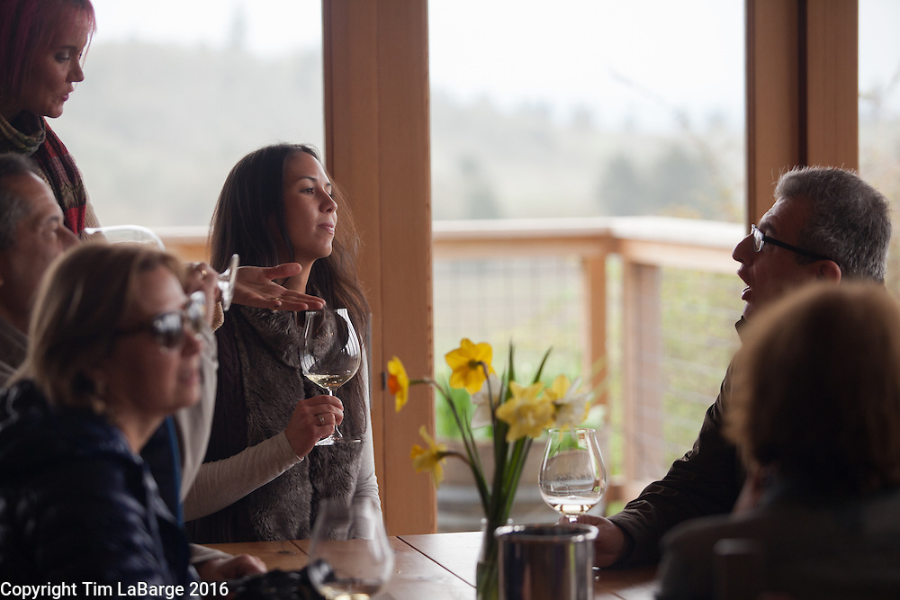 Wine tasting at Bethel Heights Vineyard near Salem, Ore. Photo © Tim LaBarge 2016