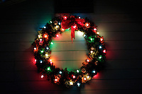 9 December 2012: Christmas wreath holiday lights in focus. Graphic Art