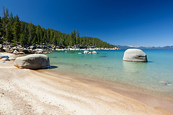"""Sandy Beach at Lake Tahoe"" - This sandy beach was photographed on the East shore of Lake Tahoe."