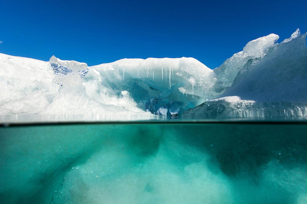 Antarctica, Enterprise Island, Underwater view of melting iceberg floating in Wilhelmina Bay