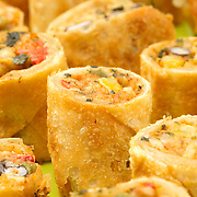 Southwest flavor with a touch of the east--all rolled into one. Oversized egg rolls filled with smoked chicken, cheese, corn, black bean and spices quickly go from frozen to finished--sure to please the Tex-Mex lover in your home! From The Perfect Gourmet.