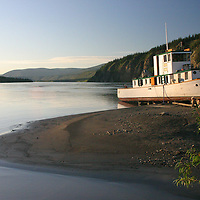 The vessel Yukon Rose pulled up on a sandbar on the Yukon River in Dawson, Yukon Territory.