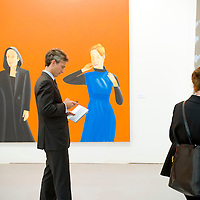 UK. London. The Frieze Art Fair in Reagent's Park. Photo show people looking at 'Untitled (Obverse with Abstract Paintings 2008)'..Photo by Steve Forrest